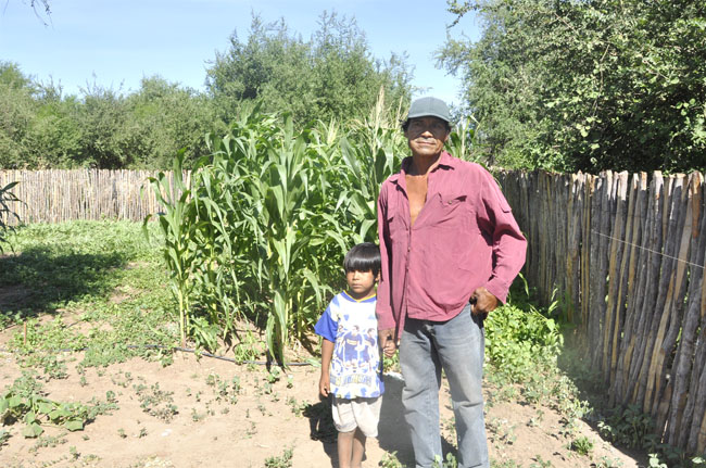 Ramon, an indigenous Wichi from NW Argentina stands in his garden